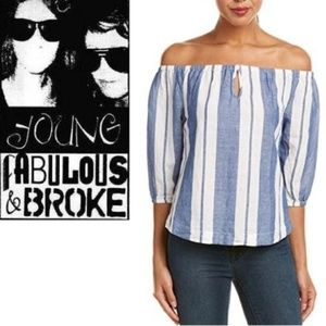 Young Fabulous & Broke Striped Off Shoulder Top M